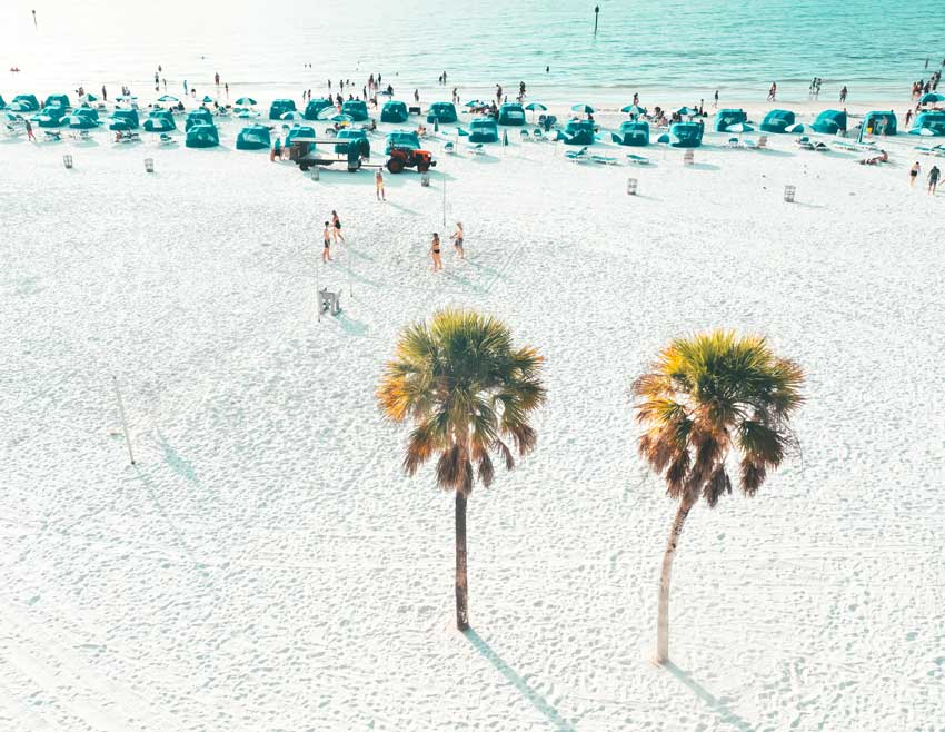 Aerial photo of Clearwater Beach, FL.