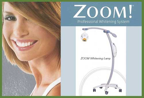 Photo of woman smiling and ZOOM whitening lamp.